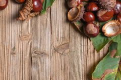 Chestnuts on a table. Chestnuts on a brown wooden table with some leaves royalty free stock photos