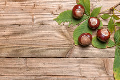 Chestnuts on a table. Chestnuts on a brown wooden table with some leaves royalty free stock photography