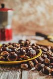 Chestnuts on table stock photo