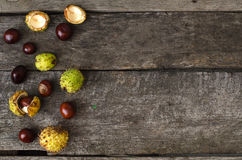 Chestnuts, walnuts, autumn mood, flat lay Stock Photo