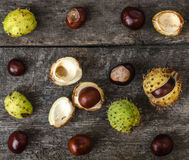 Chestnuts, walnuts, autumn mood, flat lay Royalty Free Stock Photo