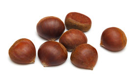 Chestnuts on a white Stock Images