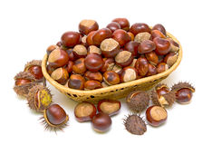 Chestnuts in a wicker basket. View from above. Royalty Free Stock Photo