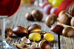 Chestnuts and wine royalty free stock photo