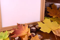 Chestnuts on wooden background and blank paper card Stock Photos
