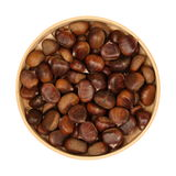 Chestnuts in a wooden bowl Royalty Free Stock Photography