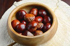Chestnuts in wooden bowl Stock Photography