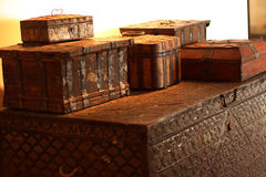 Chests and boxes; antiques in a modern interior. The chests are in the Museum Royalty Free Stock Photography