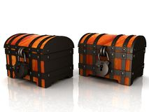 Chests. 3d illustration. The Chests. 3d illustration on a white royalty free illustration