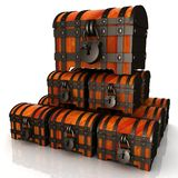 Chests. 3d illustration. The Many Chests. 3d illustration vector illustration