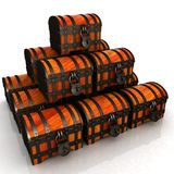 Chests. 3d illustration. The Chests. 3d illustration on a white stock illustration