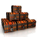 Chests. 3d illustration. On a white royalty free illustration