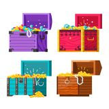 Chests with gold coins and jewelry vector money and diamonds or brilliants pearl beads and rubies wealth. And riches in container with lock ancient gemstones stock illustration