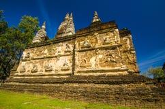 chet yot寺庙的,清迈泰国塔。 库存图片