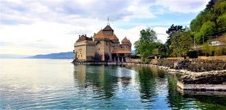 Cheteau-de-Chillon в Монтрё, Швейцарии стоковое изображение