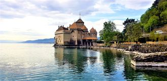 Cheteau-de-Chillon a Montreux, Svizzera immagine stock
