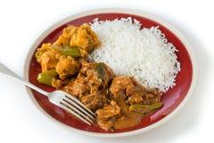 Chettinadu-Hühnercurry mit veg und Reis Stockbild