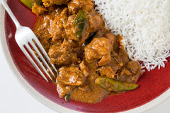 Chettinadu-Hühnercurry mit veg und Reis Stockbilder