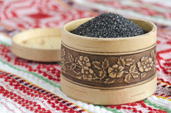Chetvergova salt shaker from birch bark. Black Russian salt. Traditional Easter salt Royalty Free Stock Photo