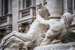 Cheval agité, la fontaine de TREVI photographie stock