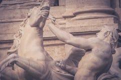 Cheval agité, la fontaine de TREVI image stock