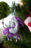 cheval, arbre de Noël Photo stock