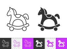 Cheval basculant la ligne noire simple icône de vecteur illustration stock