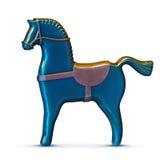 Cheval bleu en métal de jouet sur le blanc Photo libre de droits