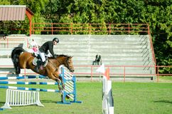 Cheval brun et saut de tour de jockey de jeune homme beau au-dessus de la fourche dans le sport équestre noir et blanc avec Octob Image stock
