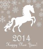 Cheval 2014. Carte de Noël d'hiver. Photographie stock