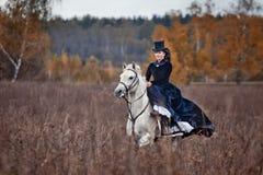 Cheval-chasse avec des dames dans l'habitude d'équitation Images stock