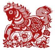 Cheval chinois d'isolement de Papier-découpage Image stock