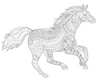Cheval courant dans le style de zentangle Photos libres de droits