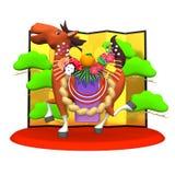 Cheval décoré avec l'avant se pliant d'écran Image libre de droits