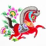 Cheval, découpage de papier de couleur. Zodiaque chinois. Images libres de droits