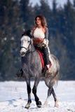 Cheval d'équitation de femme extérieur en hiver photographie stock libre de droits