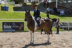 Cheval d'équitation de fille Photographie stock