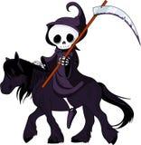 Cheval d'équitation de moissonneuse sinistre de dessin animé Photographie stock