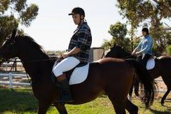Cheval d'équitation masculin de deux amis dans le ranch Images libres de droits