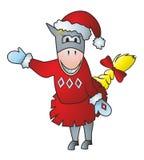 Cheval dans un chapeau de Noël Image stock