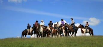 Cheval de chemin occidental - cowboy Photo stock
