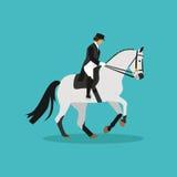 Cheval de course et femme jockey de dame Illustration plate de vecteur de concept d'équitation Photo libre de droits