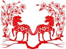 Cheval de deux rouges pendant la nouvelle année chinoise illustration de vecteur