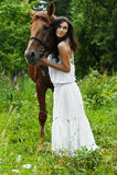 Cheval de femme de verticale Photos libres de droits