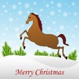 Cheval de Noël dans la neige Photos libres de droits