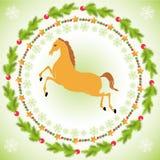 Cheval de Noël dans le cadre rond Image stock
