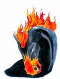 Cheval de noir et d'incendie Images stock