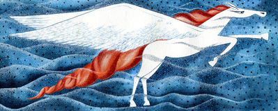 Cheval de Pegasus - créature mythologique illustration stock