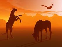 Cheval de Stagering avec l'aigle, matin brumeux. illustration de vecteur