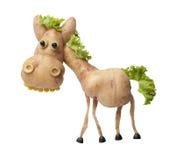 Cheval drôle fait de pomme de terre Photos libres de droits